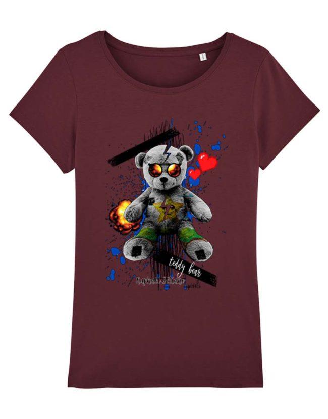 T-shirt Ours polaire bordeaux