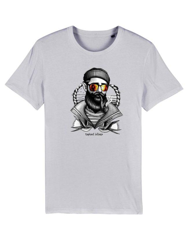 T-shirt hipster marin blanc