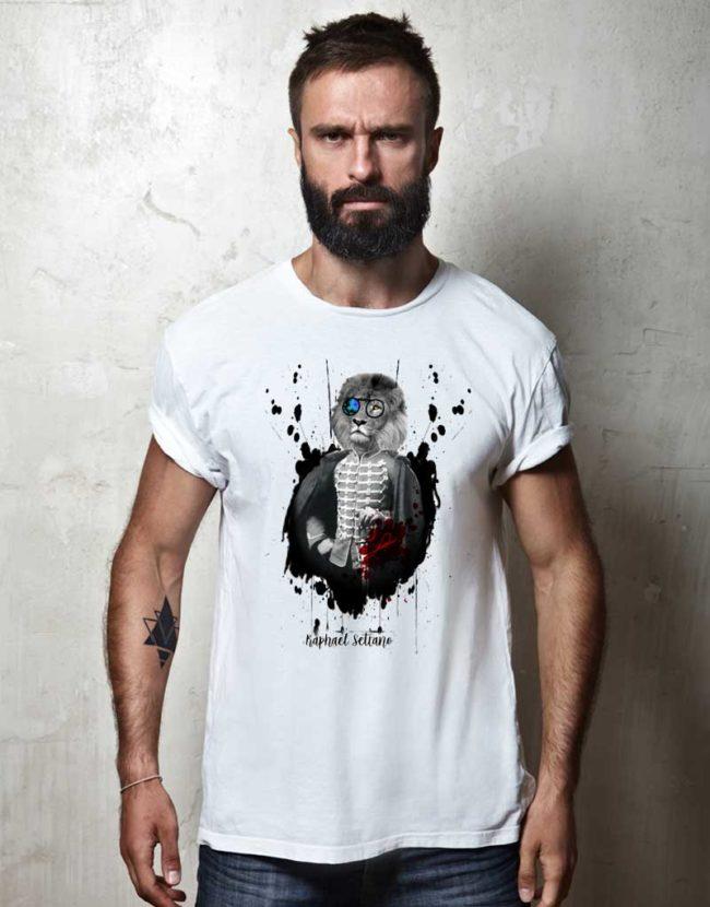 T-Shirt Créateur Homme, Tee Shirt Tête de Lion, T-Shirt Raphael Setiano.