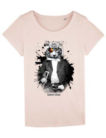 T-shirt Tigre blanc Rose Poudré
