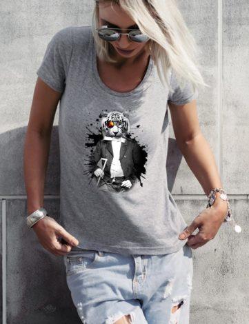 T-shirt Tigre Blanc gris chiné.