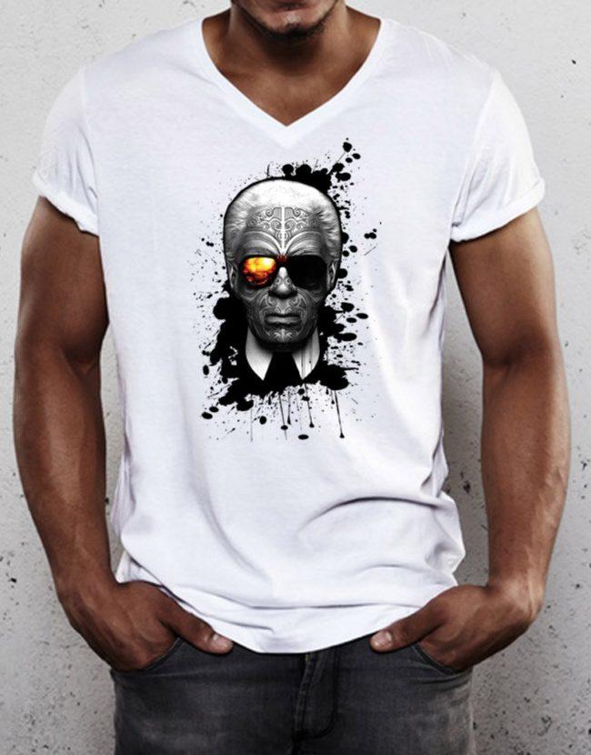 T-Shirt col V Lagerfeld, T-Shirt col V Homme pas cher, T-shirt Raphael Setiano