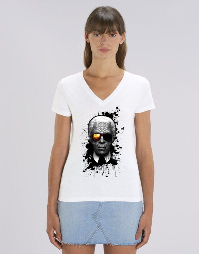 T-Shirt Col V Femme, Tee Shirt Femme Karl Lagerfeld, T-Shirt col V Femme pas Cher.