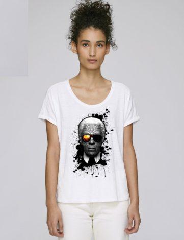 T-Shirt Asymétrique Femme, T-Shirt Oversize Femme, T-Shirt Karl Lagerfeld.