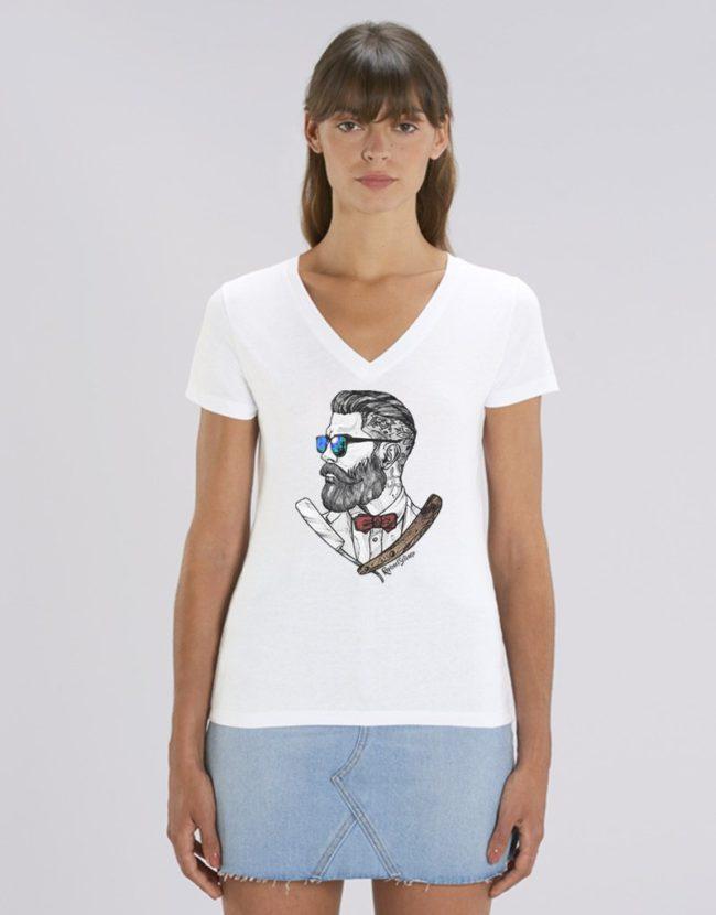 T-Shirt Hipster Femme, Tee Shirt Hipster Marin, T-Shirt Col V Femme.