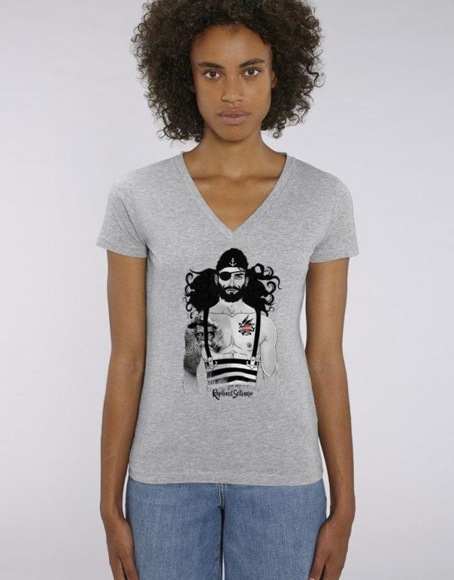 Tee Shirt Femme Pirate, T-Shirt Col V Femme, T-Shirt Femme Pas Cher.