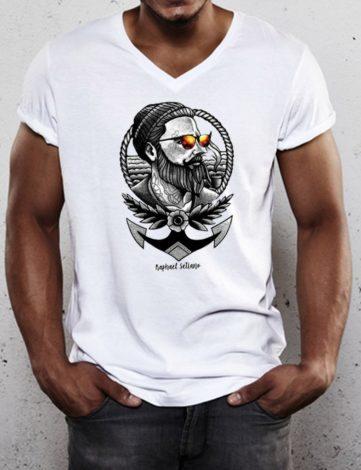 Tee Shirt Col V Barbu et Tatoué, T-Shirt Hipster Barbe, T-Shirt Homme.