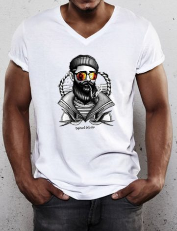 Tee Shirt Marin Homme, T-Shirt Hipster Marin, T-Shirt Homme Col V.