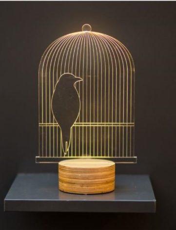 Luminaire plexiglas 3D Birdy