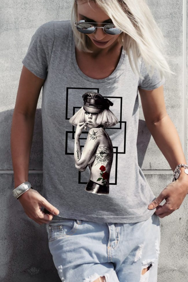 Tee Shirt Femme Lady Gaga, Tee Shirt Femme imprimé.